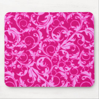 Retro Vintage Swirls Hot Pink Mousepad