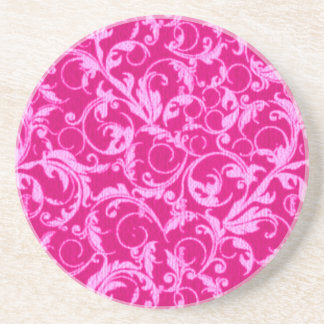 Retro Vintage Swirls Hot Pink Sandstone Coaster