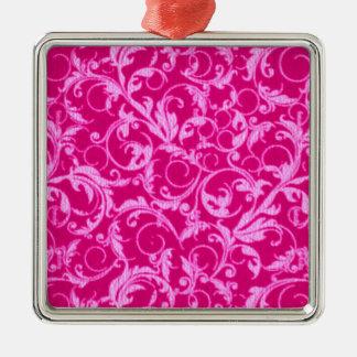 Retro Vintage Swirls Hot Pink Square Ornament