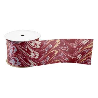 Retro Vintage Swirls Maroon Red Creme Silver Waves Satin Ribbon
