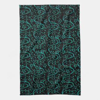 Retro Vintage Swirls Teal Black Kitchen Towels