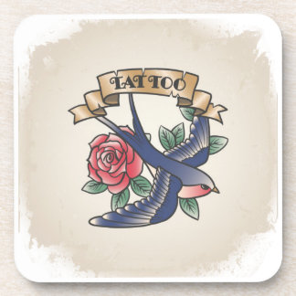 Retro vintage tattoo coaster