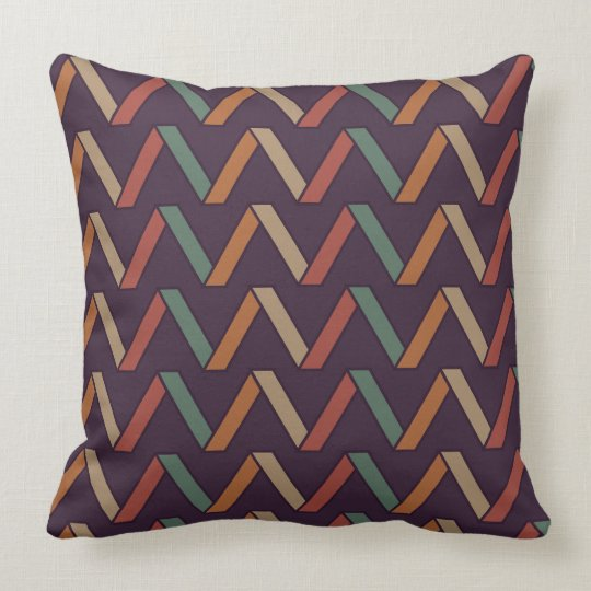 Retro Vintage Triangular Pattern Throw Pillow