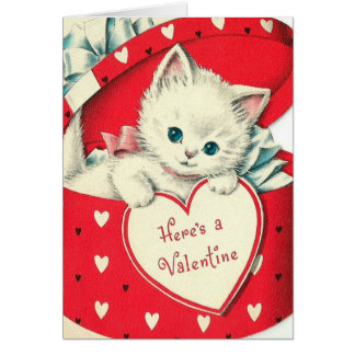 Retro Vintage Valentine cat add message card