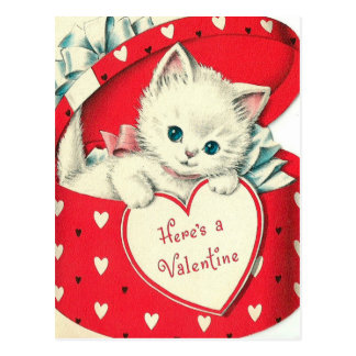 Retro Vintage Valentine Holiday cat postcard