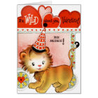 Retro Vintage Valentine lion add message card