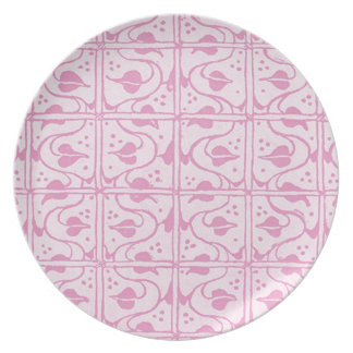 Retro Vintage Vines Pink White Plate