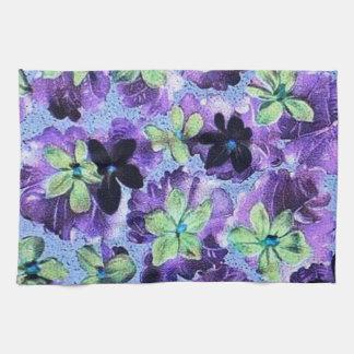 Retro Vintage Violets Green Purple Kitchen Towel