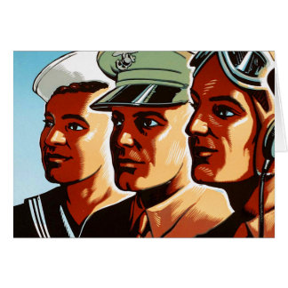 Retro Vintage War Military Armed Forces Profiles Greeting Cards