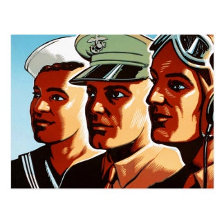 Retro Vintage War Military Armed Forces Profiles Postcard