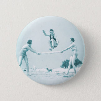 Retro Vintage Women at the Beach Bathing 2 Inch Round Button