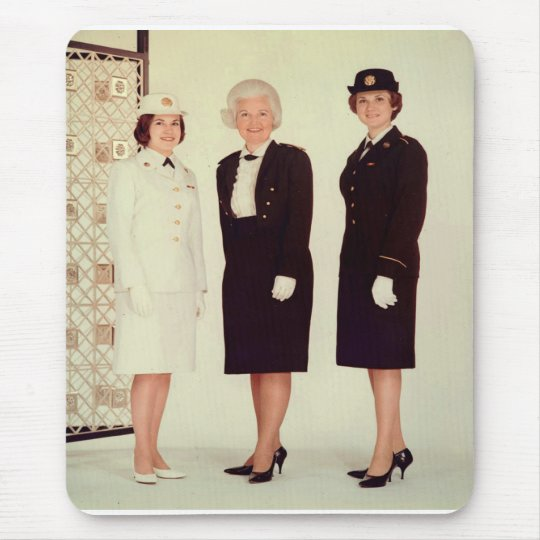 Retro Vintage Women in Uniform Beautiful Strong Mouse Pad