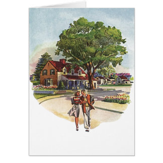 Retro Vintage Young Couple Stroll Anniversary Card