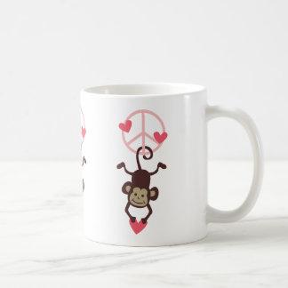 Retro Vinttage Hanging Peace Monkey - Blue or Pink Coffee Mug