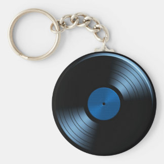 Retro Vinyl Record Album in Blue Keychain