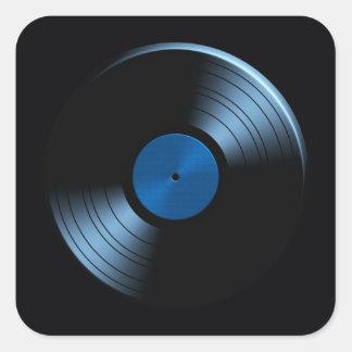 Retro Vinyl Record Album in Blue Square Sticker
