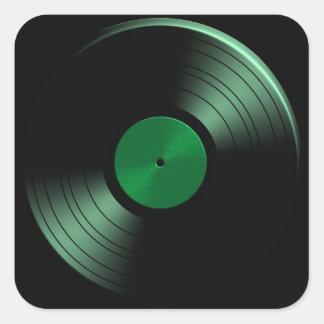 Retro Vinyl Record Album in Green Square Stickers