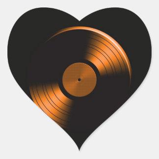 Retro Vinyl Record Album in Orange Heart Stickers
