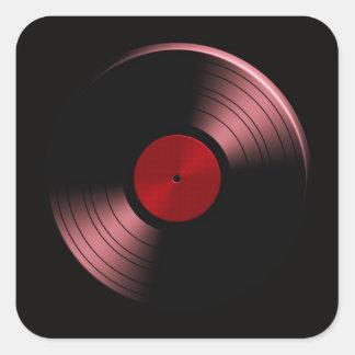 Retro Vinyl Record Album in Red Stickers