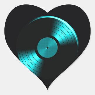Retro Vinyl Record Album in Teal Heart Stickers