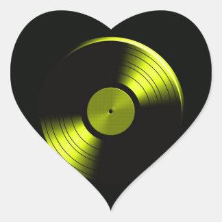 Retro Vinyl Record Album in Yellow Heart Sticker