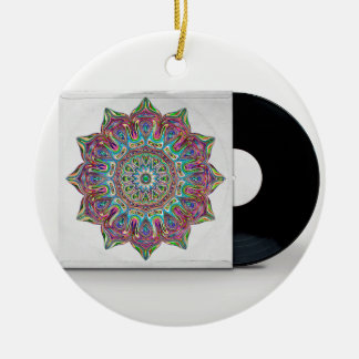 Retro Vinyl Record and Psychedelic Hippy Sleeve Ceramic Ornament
