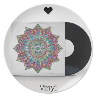 Retro Vinyl Record and Psychedelic Hippy Sleeve Plate