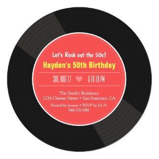 Retro Vinyl Record Birthday Party Invitations