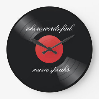 Retro Vinyl Record Music Theme Large Clock