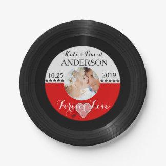 Retro Vinyl Record Photo Post-Wedding Party Custom Paper Plate