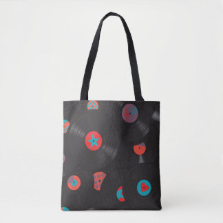 Retro Vinyl Records Vintage Style Seamless Pattern Tote Bag