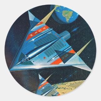 Rétro vol spatial vintage de la NASA de Sci fi Sticker Rond