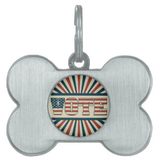 Retro voting gear pet tag
