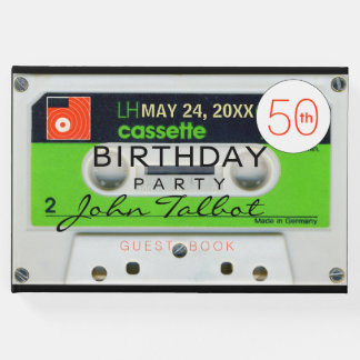 Retro W Audiotape DJ 80s 50th birthday Guest Book