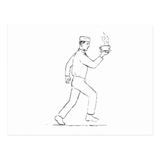 Retro Waiter Running Serving Coffee Drawing Postcard