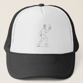 Retro Waiter Running Serving Coffee Drawing Trucker Hat