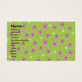 Retro Wallpaper Lime Green & Pink Business Card
