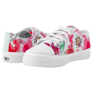 retro watercolor bouquet lowtop lace ups Low-Top sneakers