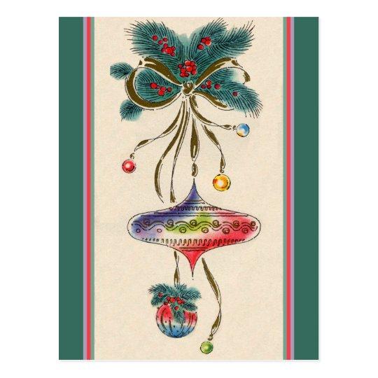 Retro Watercolored Ornaments Postcard