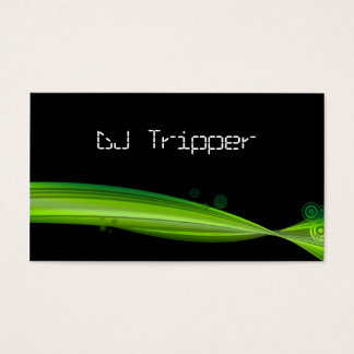 Retro Wave Business Card Black DJ Lime Green