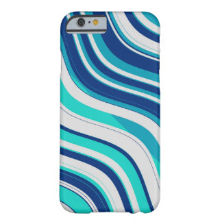 Retro Wavy Stripes Pattern (Blue, Aqua, White) Barely There iPhone 6 Case