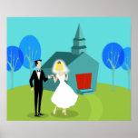 Retro Wedding Couple Poster