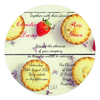 Retro wedding invitation with sweet cupcakes