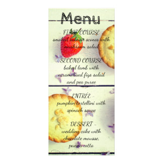 Retro wedding menu with sweet cupcakes custom rack cards