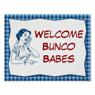 Retro Welcome Bunco Babes Sign