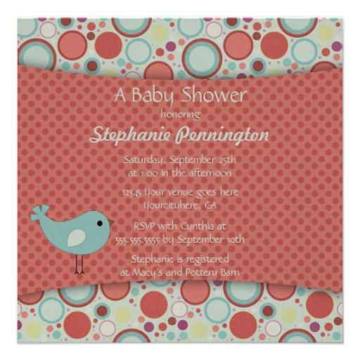 Retro whimsical polka dots baby shower invitation