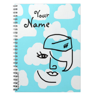 Retro Whimsical Stewardess Custom Journal Notebook