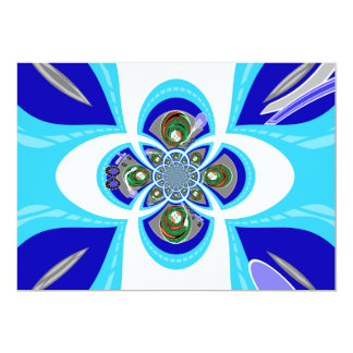 """Retro white blue turntable design 5"""" x 7"""" invitation card"""