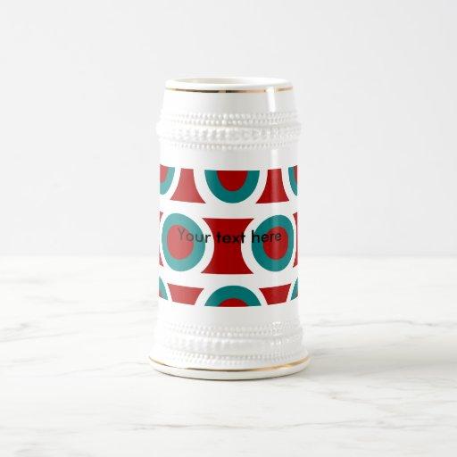 Retro white teal circles on burgundy coffee mugs