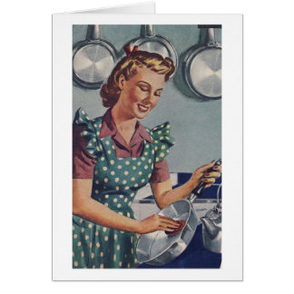 Retro Wife - Cook, Wash, Iron, Dust, Card